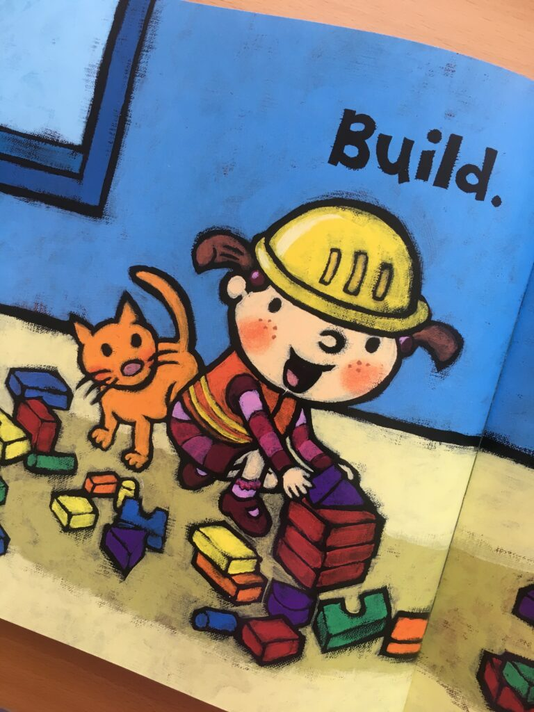Illustration of child building with blocks
